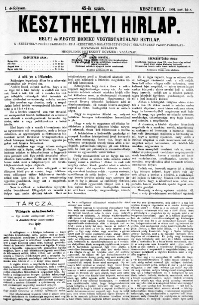 Keszthelyi Hirlap 1891.11.08.