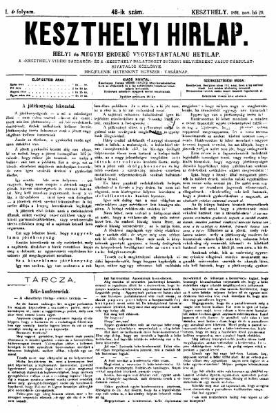 Keszthelyi Hirlap 1891.11.29.