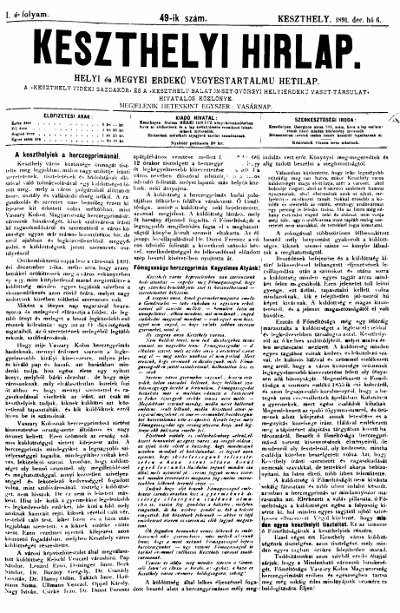 Keszthelyi Hirlap 1891.12.06.