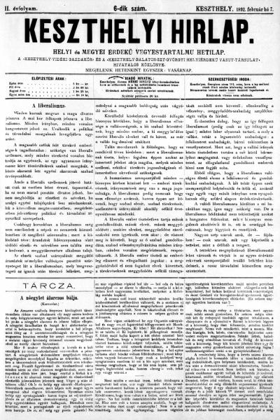 Keszthelyi Hirlap 1892.02.07.