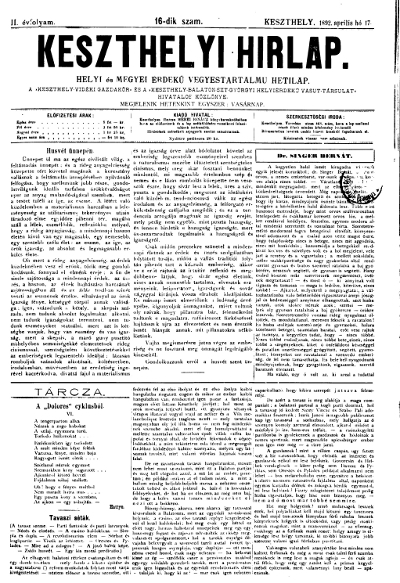 Keszthelyi Hirlap 1892.04.17.