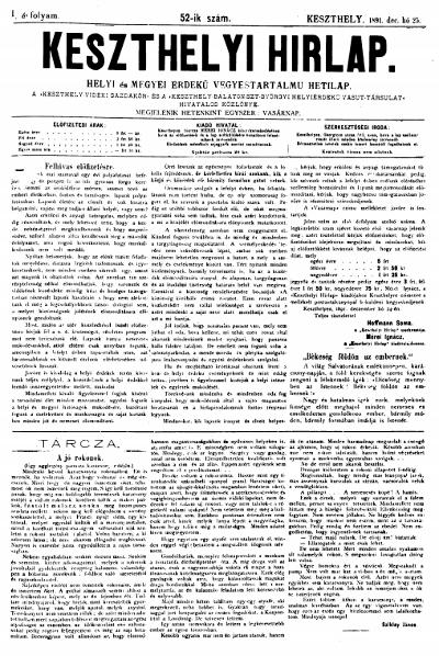 Keszthelyi Hirlap 1891.12.25.