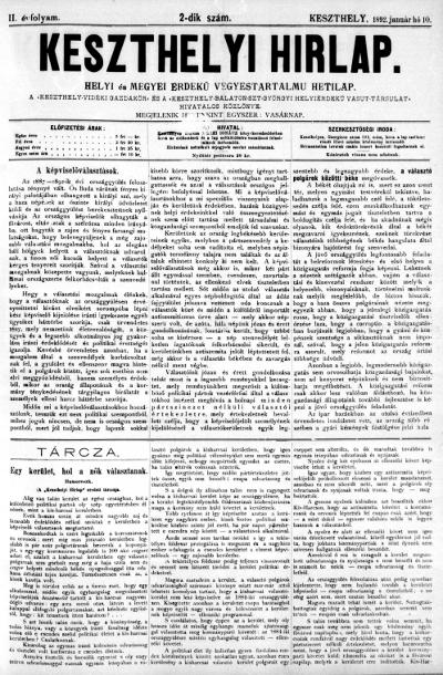 Keszthelyi Hirlap 1892.01.10.