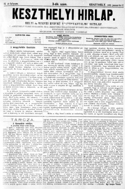Keszthelyi Hirlap 1892.01.17.