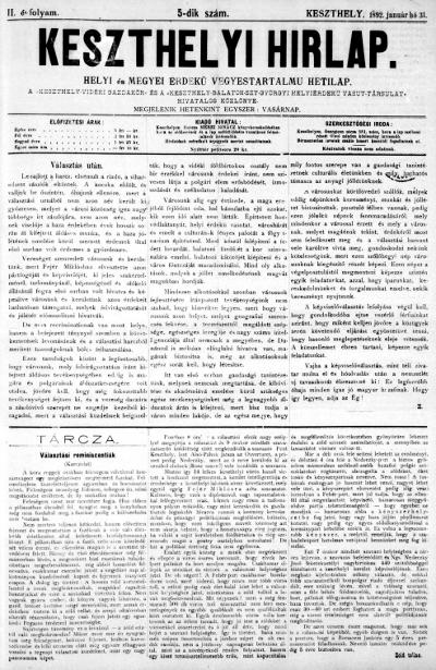 Keszthelyi Hirlap 1892.01.31.