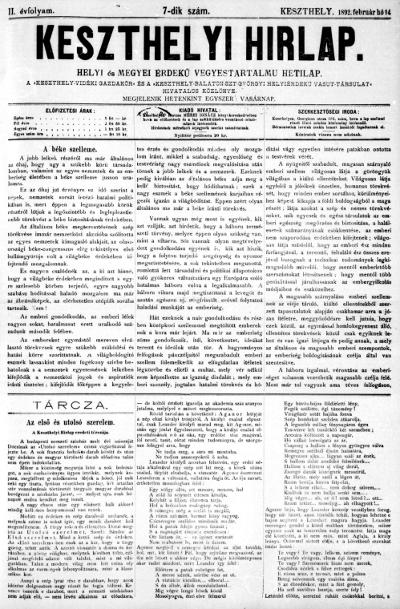 Keszthelyi Hirlap 1892.02.14.