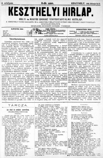 Keszthelyi Hirlap 1892.02.21.