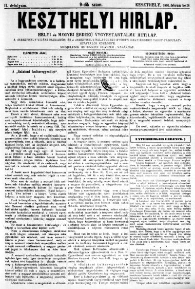 Keszthelyi Hirlap 1892.02.28.