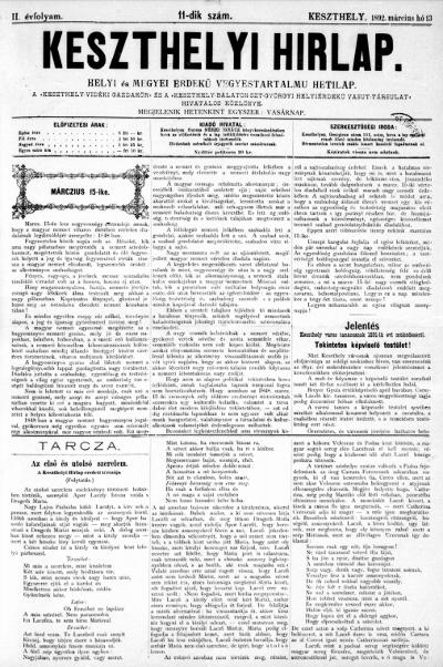 Keszthelyi Hirlap 1892.03.13.