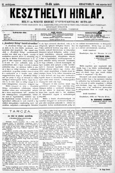 Keszthelyi Hirlap 1892.03.27.
