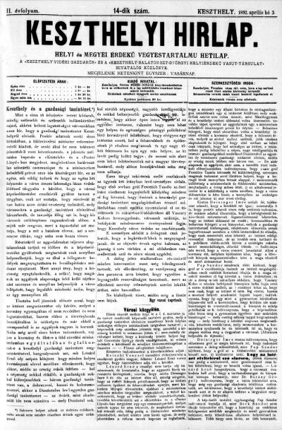 Keszthelyi Hirlap 1892.04.03.