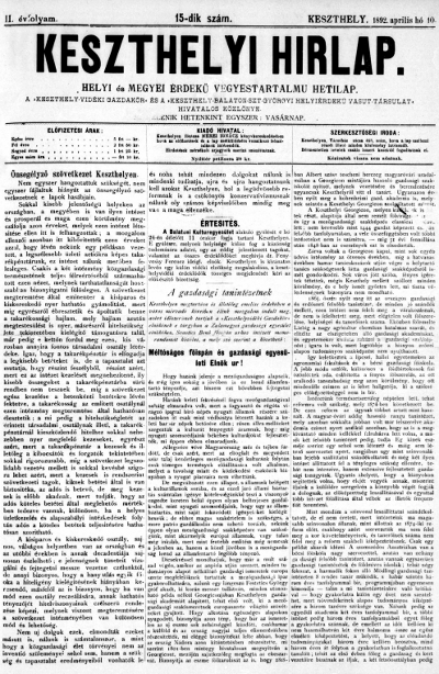 Keszthelyi Hirlap 1892.04.10.