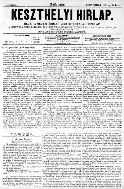 Keszthelyi Hirlap 1892.04.24.
