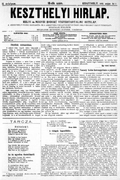 Keszthelyi Hirlap 1892.05.01.