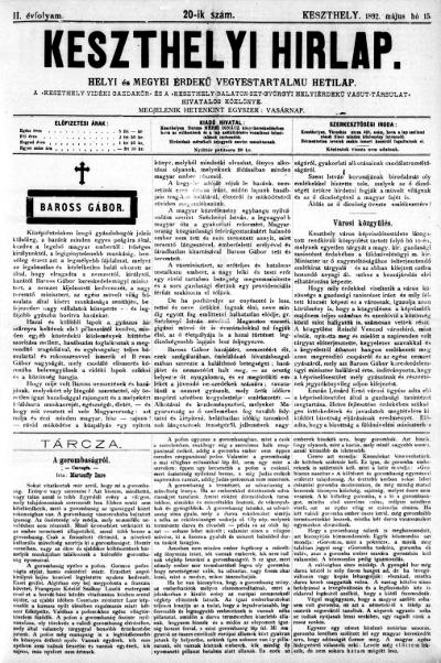 Keszthelyi Hirlap 1892.05.15.