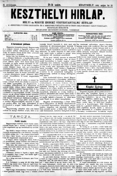 Keszthelyi Hirlap 1892.05.22.