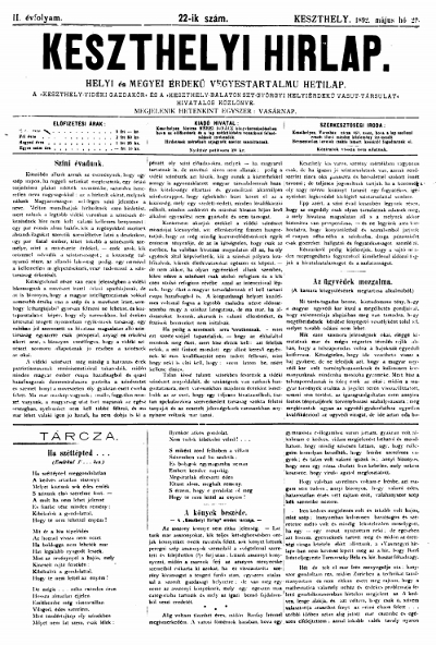 Keszthelyi Hirlap 1892.05.29.
