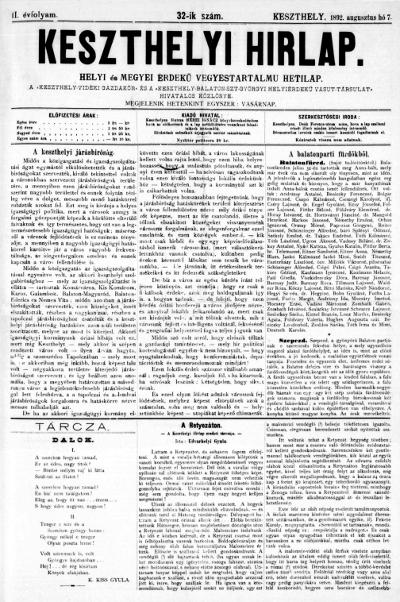 Keszthelyi Hirlap 1892.08.07.