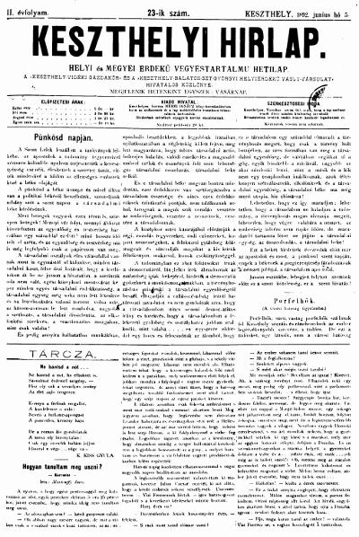 Keszthelyi Hirlap 1892.06.05.