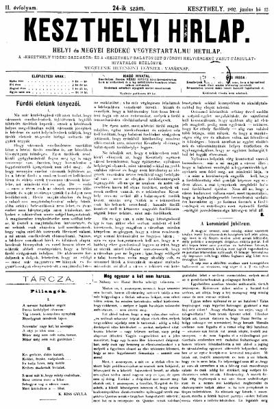 Keszthelyi Hirlap 1892.06.12.