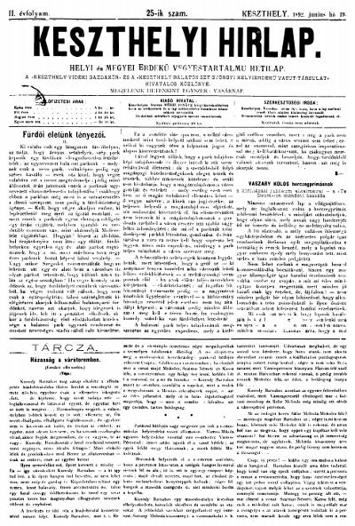 Keszthelyi Hirlap 1892.06.19.