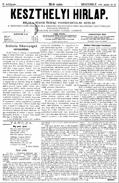 Keszthelyi Hirlap 1892.06.26.