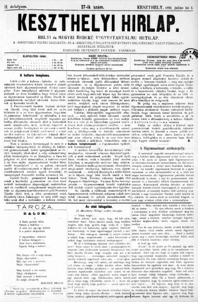 Keszthelyi Hirlap 1892.07.03.