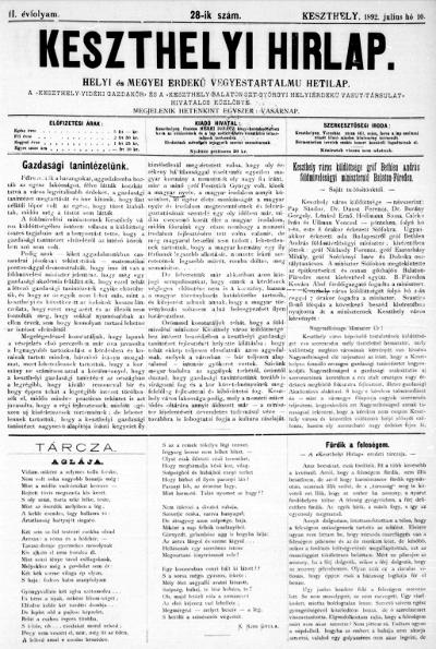 Keszthelyi Hirlap 1892.07.10.