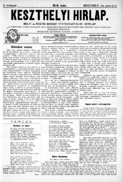 Keszthelyi Hirlap 1892.07.24.