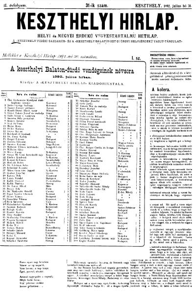 Keszthelyi Hirlap 1892.07.31.