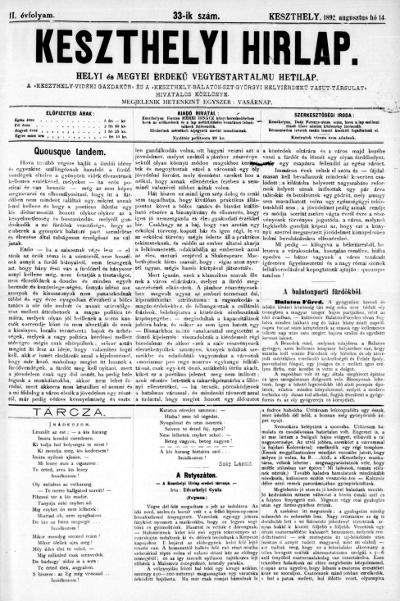 Keszthelyi Hirlap 1892.08.14.