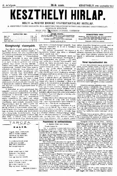 Keszthelyi Hirlap 1892.09.04.