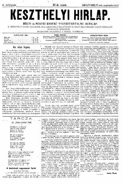 Keszthelyi Hirlap 1892.09.11.