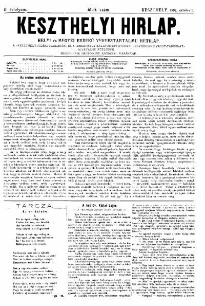 Keszthelyi Hirlap 1892.10.09.
