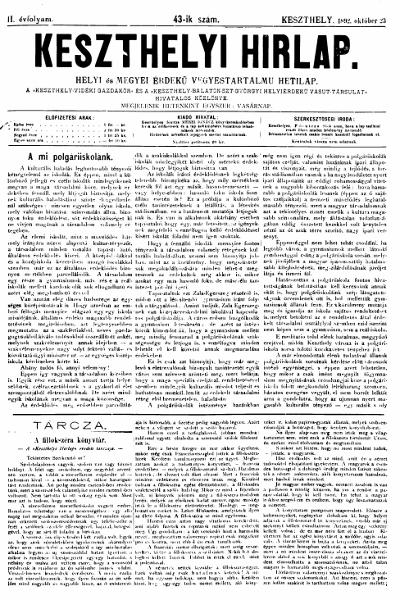 Keszthelyi Hirlap 1892.10.23.