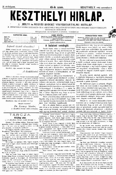 Keszthelyi Hirlap 1892.11.06.