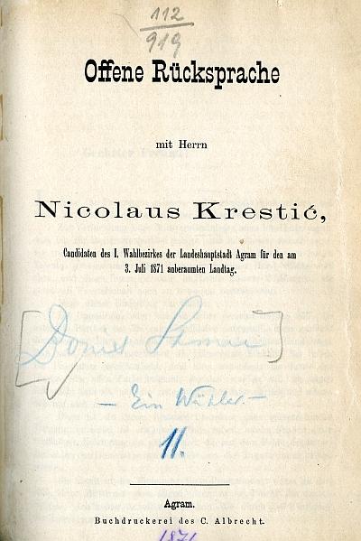 Offene Rücksprache mit Herrn Nicolaus Krestic Candidaten ...