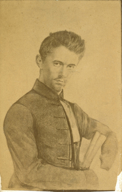 Petőfi dagerrotípiájának másolata (rajz)