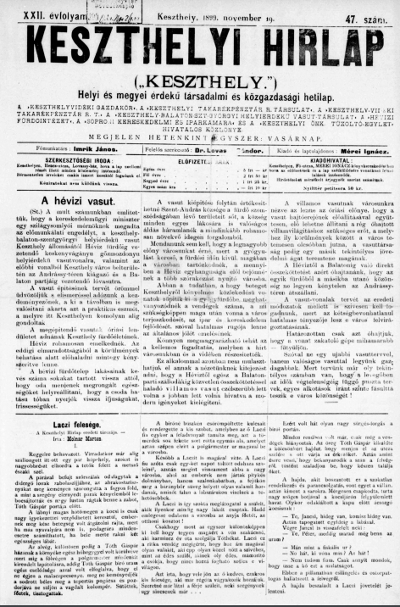 Keszthelyi Hirlap 1899.11.19.
