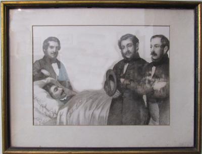 Kisfaludy Károly halottas ágyánál áll:Bajza József,Kisfaludy Sándor és Vörösmarty Mihály