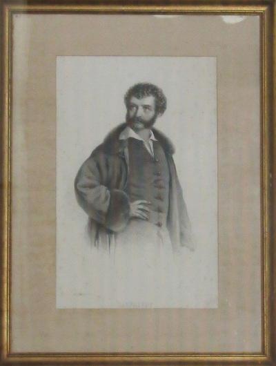 Kisfaludy Károly szőrös gallérú kabátban