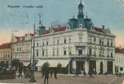 Erzsébet Szálloda - képeslap, Kaposvár, 1923