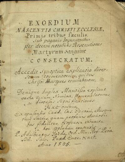 Exordium Nascentis Christi Ecclesiae