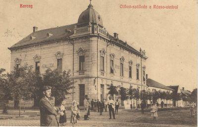 Otthon Szálloda - képeslap, Karcag, 1910
