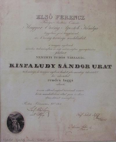 Kisfaludy Sándor Akadémiai (Nemzeti Tudós Társaság) Tagságának Oklevele