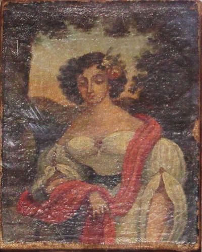 Női arckép, hajában virággal