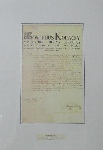Kopácsy József veszprémi püspök engedélye Kisfaludy Sándor és Vajda Amália házasságához 1834 február 15.