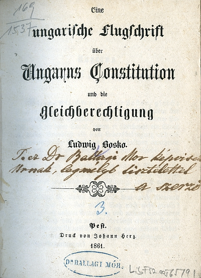 Eine ungarische Flugschrift über Ungarns Constitution und die gleichberechtigung