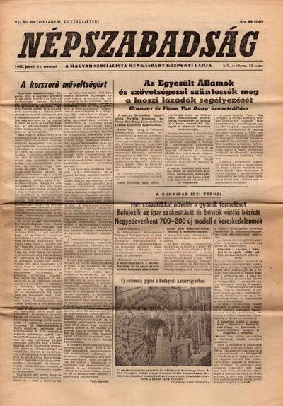 Népszabadság 1961. (19. évfolyam) január 14.