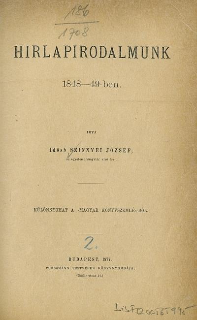 Hirlapirodalmunk 1848-49-ben